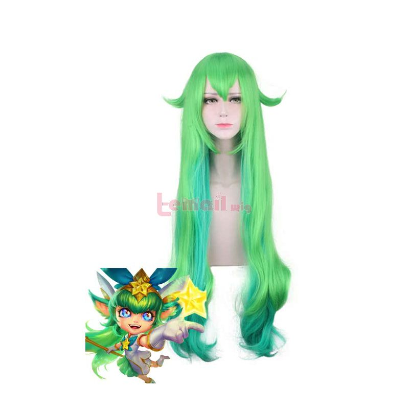 LOL Lulu 80cm Long Curly Mixed Color Cosplay Wig