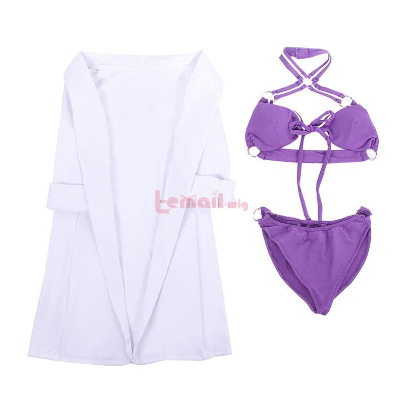 LOL Pool Party Caitlyn Purple Bikini Swimsuit Cosplay Costumes