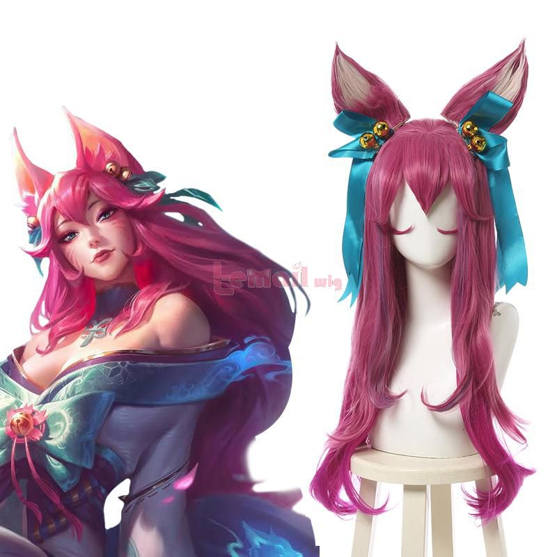 LOL Spirit Blossom Ahri Long Curly Pink Gradient Cosplay Wigs with Ears
