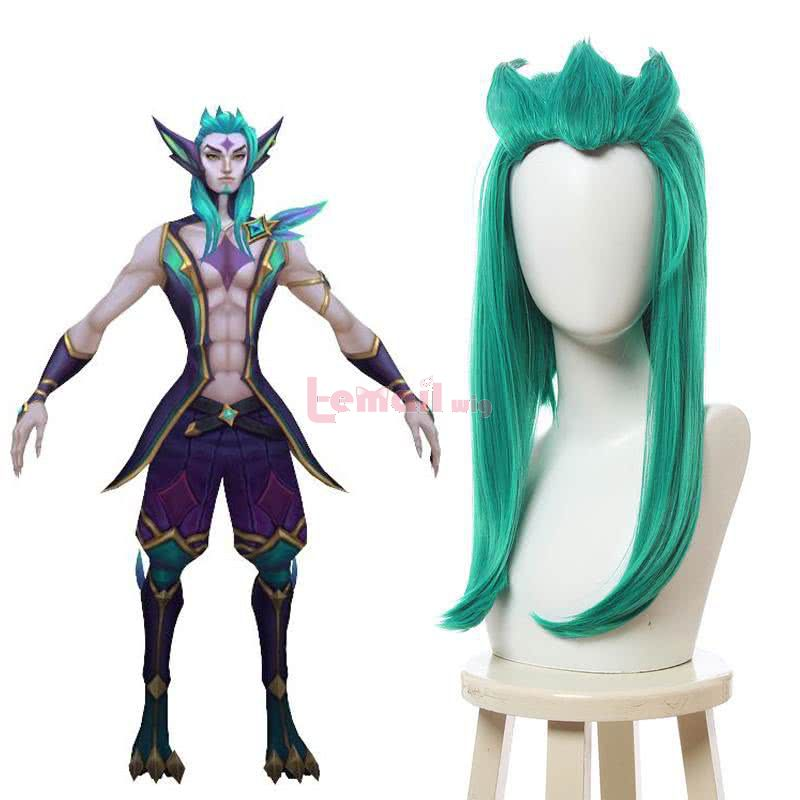 LOL Star Guardian Rakan Long Straight Green Cosplay Wigs