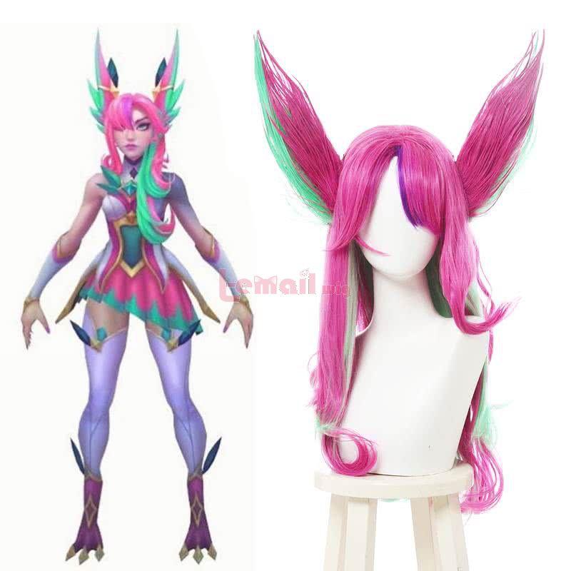 LOL Star Guardian Xayah Long Curly Pink Mixed Green Cosplay Wigs