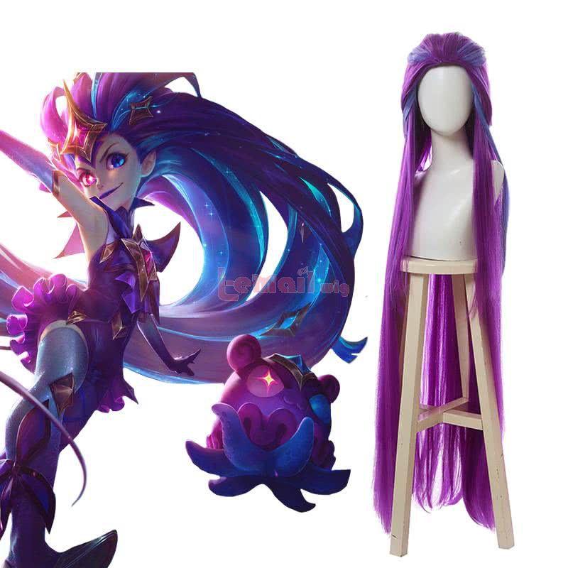 LOL Star Guardian Zoe Long Straight Mixed Purple Cosplay Wigs