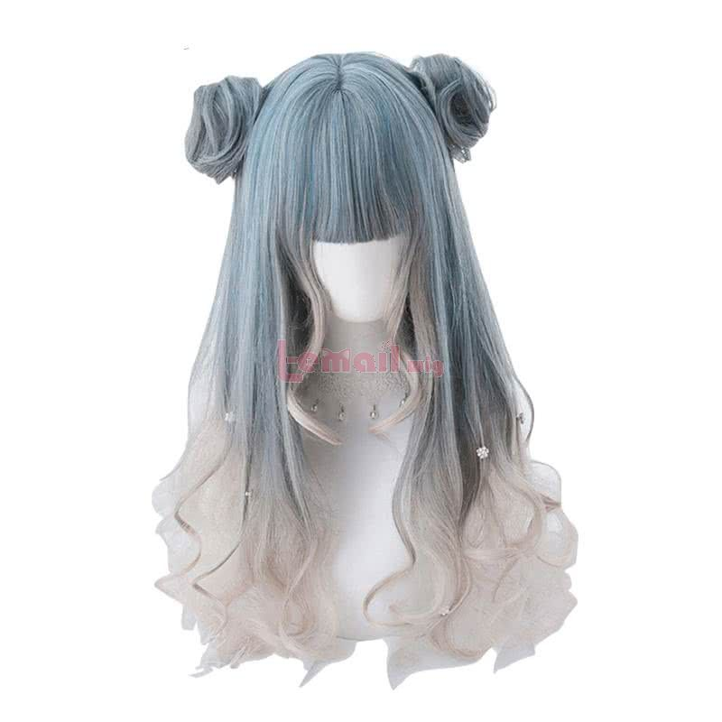 Long Curly Gradient Lolita Wigs 58cm Wave Woman Hair Cosplay Wigs with Buns