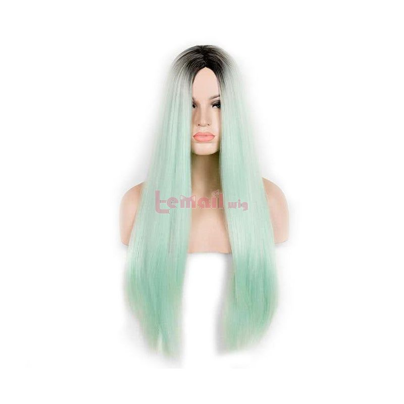 Long Straight Black to Green Mint Ombre Synthetic Hair Wigs For Women