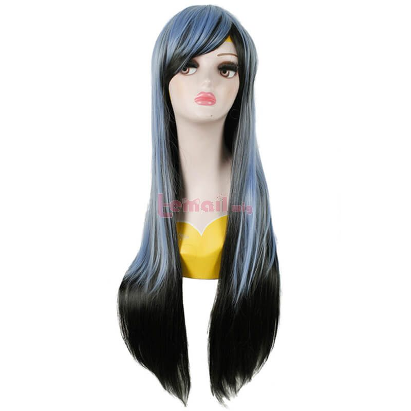 Long Straight Blue Black Wigs Cosplay