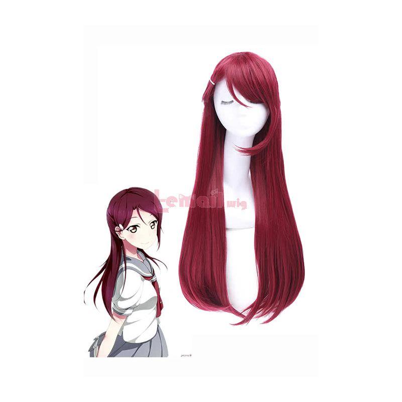 LoveLive!Sunshine!! Sakurauchi Riko Long Straight Dark Red Cosplay Wigs