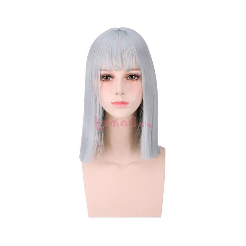 35cm Silver Mixed Green Fashion Women Medium Straight Wigs