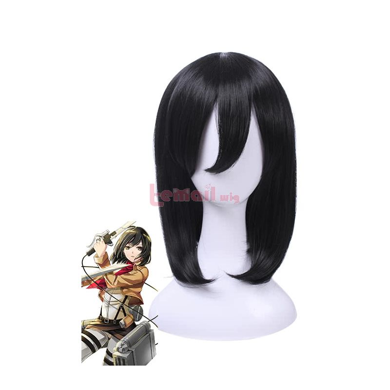 Attack on Titan Mikasa·Ackerman Short Black Hair Straight Cosplay Wigs