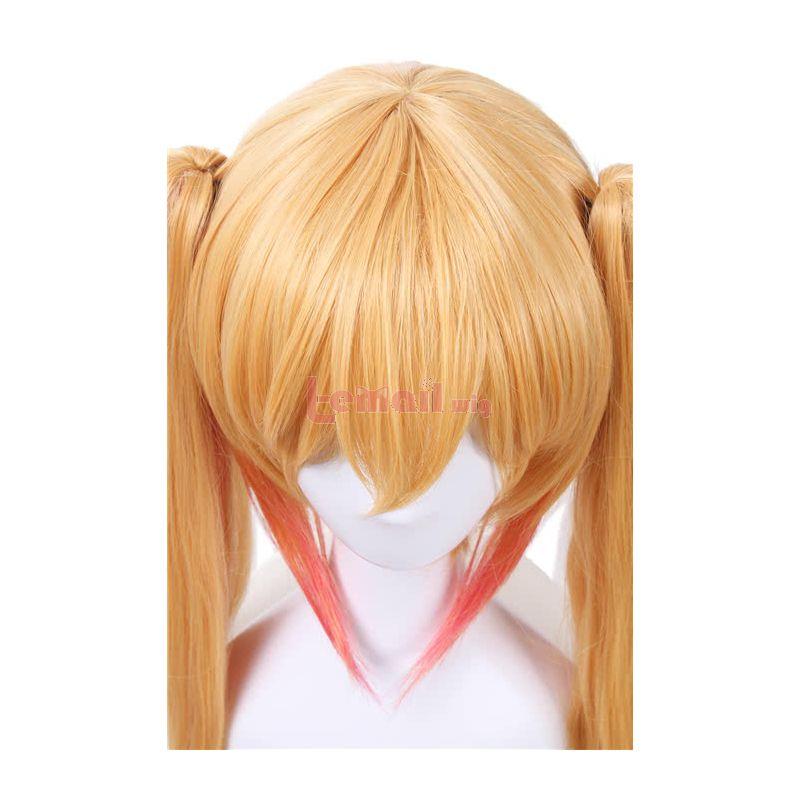 Miss Kobayashi's Dragon Maid Tohru Long Straight Blonde Mixed Pink Ponytail Cosplay Wigs