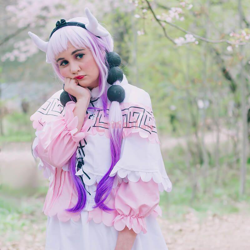 Miss Kobayashi's Dragon Maid Kanna Kobayashi Synthetic Long Purple Anime Cosplay Wigs