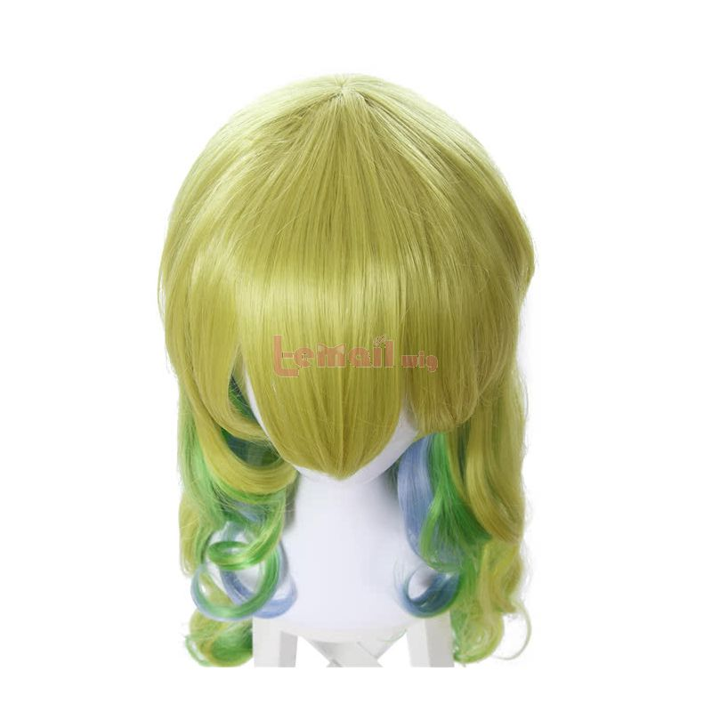 Miss Kobayashi's Dragon Maid Quetzalcoatl Lucoa Green&Yellow&Blue Mixed Culry Synthetic Cosplay Wigs