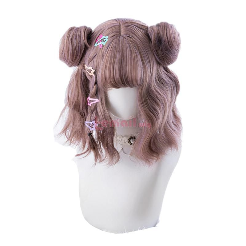 Mixed Color Lolita Wigs Short Wave Wig with Buns Gothic Cosplay Wigs