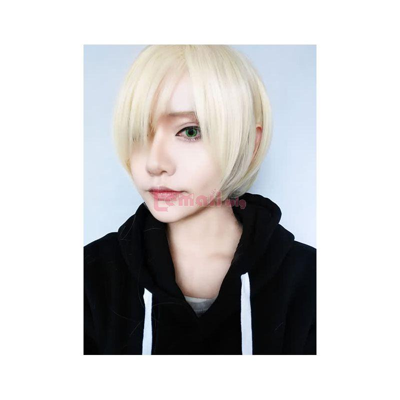 Yuri!! On Ice Yuri Plisetsky Short Straight Blonde Man Synthetic Cosplay Wigs