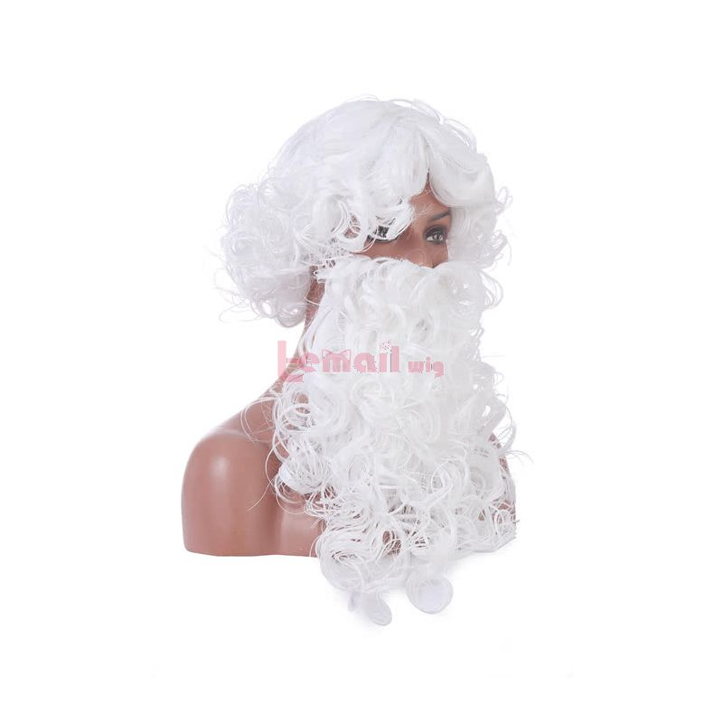 Christmas Santa Claus White Curly Long Hair Festival Beard Cosplay Party Wigs