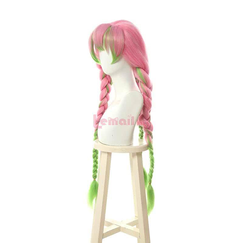 Demon Slayer Kimetsu no Yaiba Kanroji Mitsuri Long Pink Mixed Green Braid Cosplay Wigs