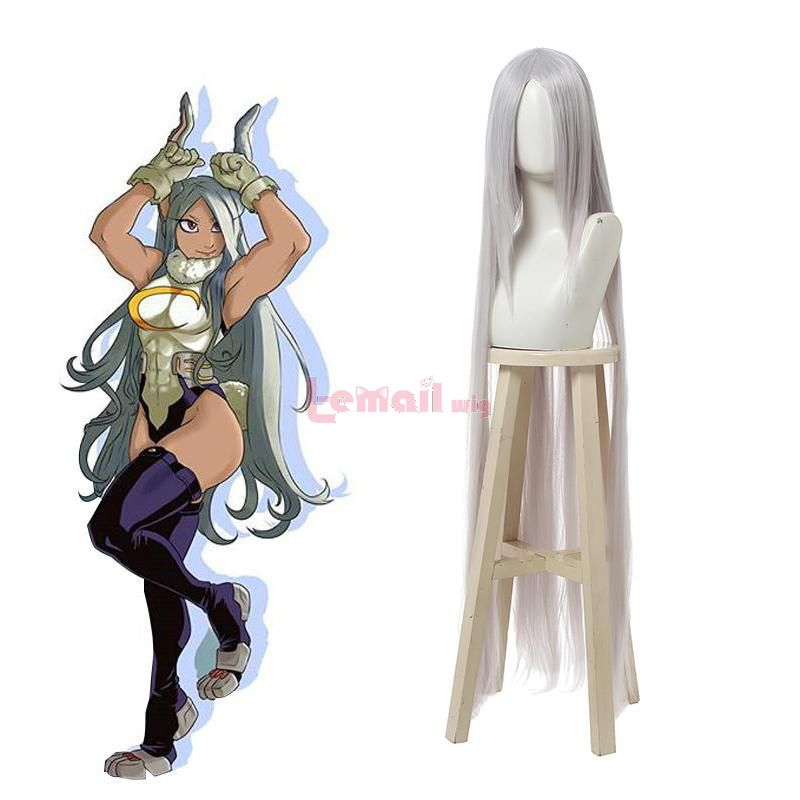 Anime My Hero Academia Miruko Sexy Women Rabbit Long Straight Grey Cosplay Wigs