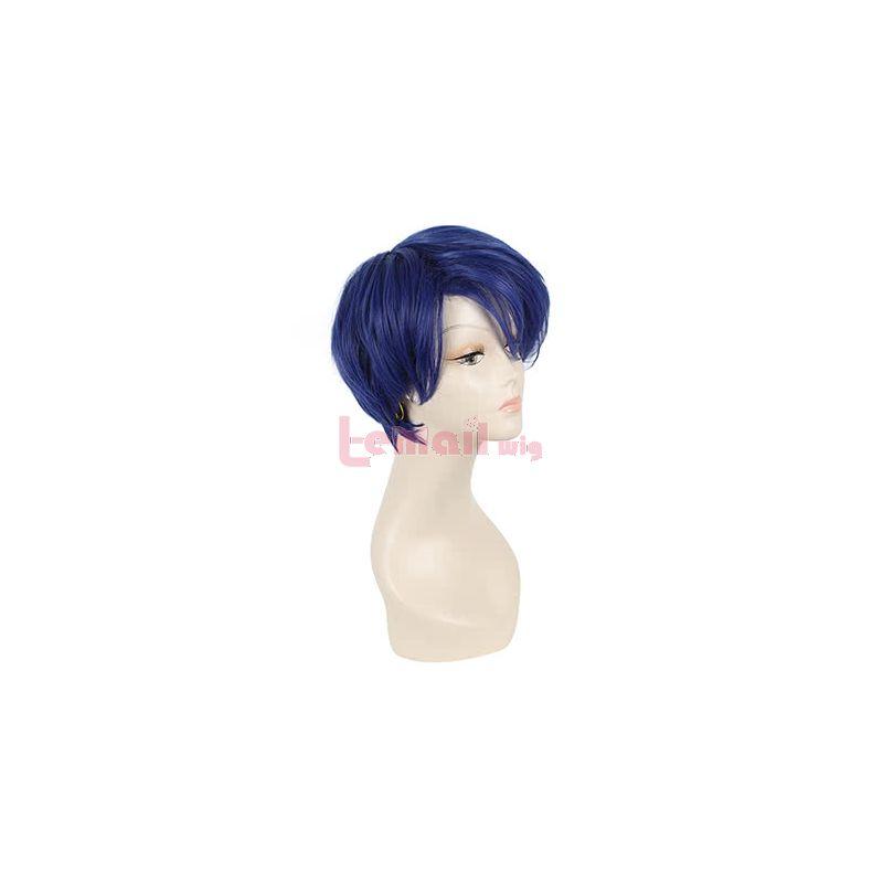 Anime Gekkan Shoujo Nozaki-kun Yuu Kashima 25CM Short Dark Blue Cosplay Wig