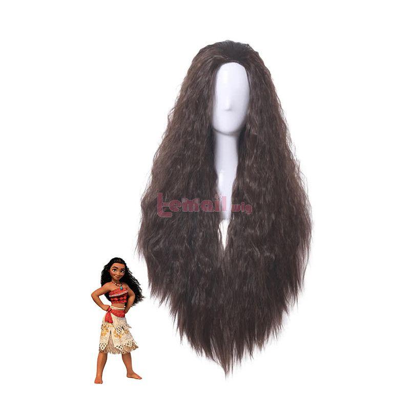 Princess Moana Wavy Curly Dark Brown Hair Cosplay Wigs