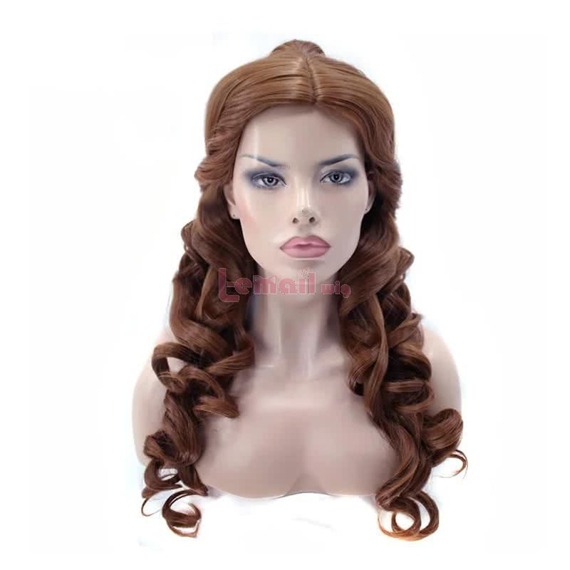 Movie Beauty and the Beast Belle Long Curly Brown Ponytail Cosplay Wigs