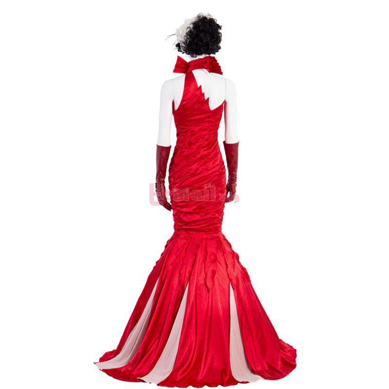 Movie White And Black Cruella Cruella De Vil Red Dress Cosplay Costume