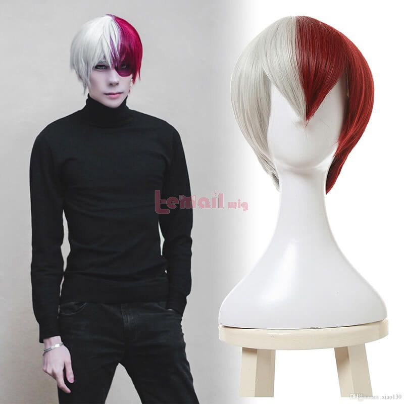 My Hero Academia Shoto Todoroki White Mixed Red Men Cosplay Wigs