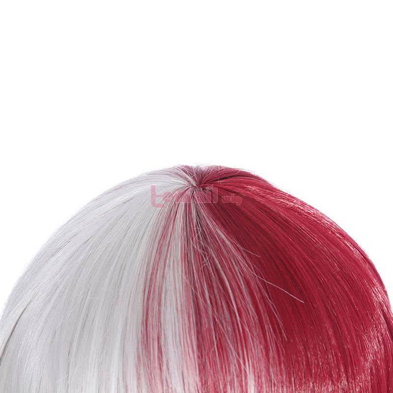 My Hero Academia Shouto Todoroki White Mixed Red Synthetic Short Men Cosplay Wigs ZY269