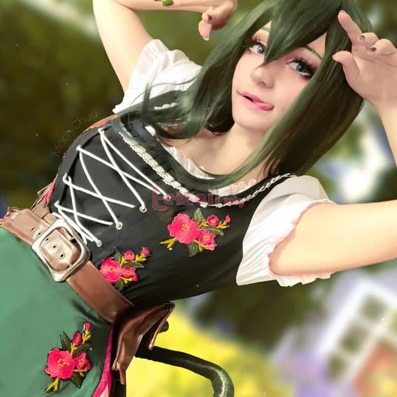 My Hero Academia Tsuyu Asui Anime Cosplay Wigs Dark-Green Long Hair Wigs JF-0360-PCM