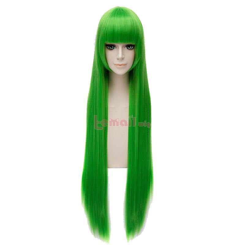 New Animation 100cm39.37inches Long Straight Green Cosplay Wigs