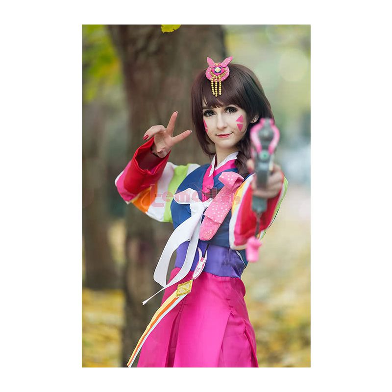 New Game OW D.va Medium Long Straight Hair With Bangs Brown Synthetic Cosplay Wigs