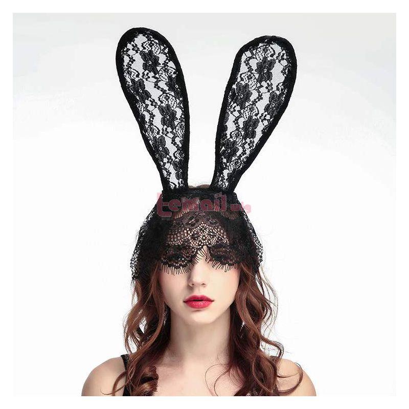 Sexy Girls Hairband Bunny Girl Black Lace Headband