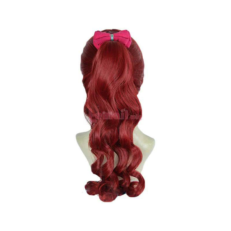 Persona 5 Royal Kasumi Yoshizawa Long Curly Wine Red Ponytail Cosplay Wigs