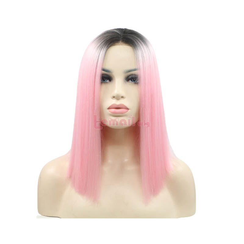 Fashion Long Straight Hair Pink Gradient Lace Front Wigs
