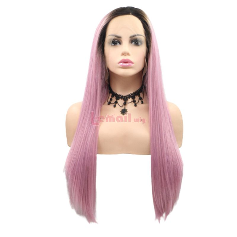 Fashion Long Straight Hair Gradient Pink Lace Front Wigs Cosplay Wigs