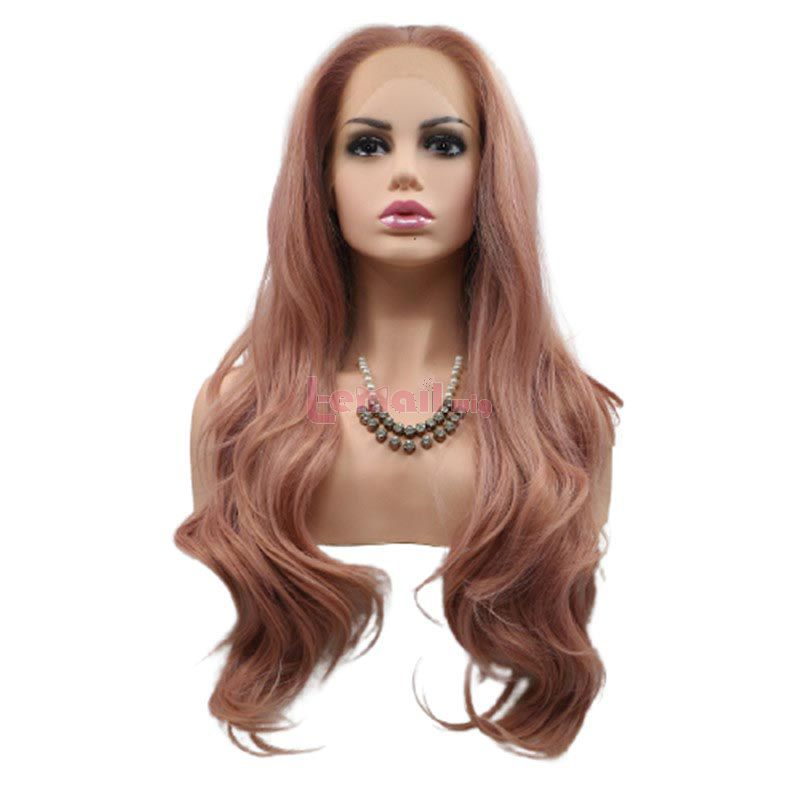 Fashion Long Curly Hair Pink Lace Front Wigs Cosplay Wigs