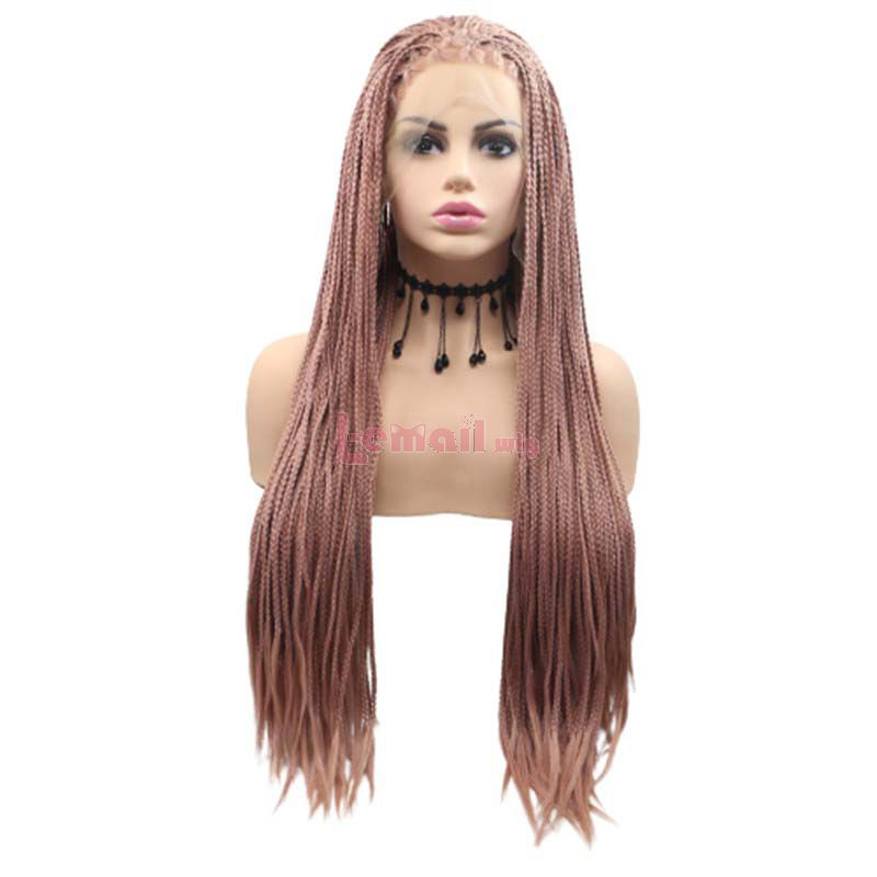 Fashion Long Straight Hair Pink Lace Front Cosplay Wigs