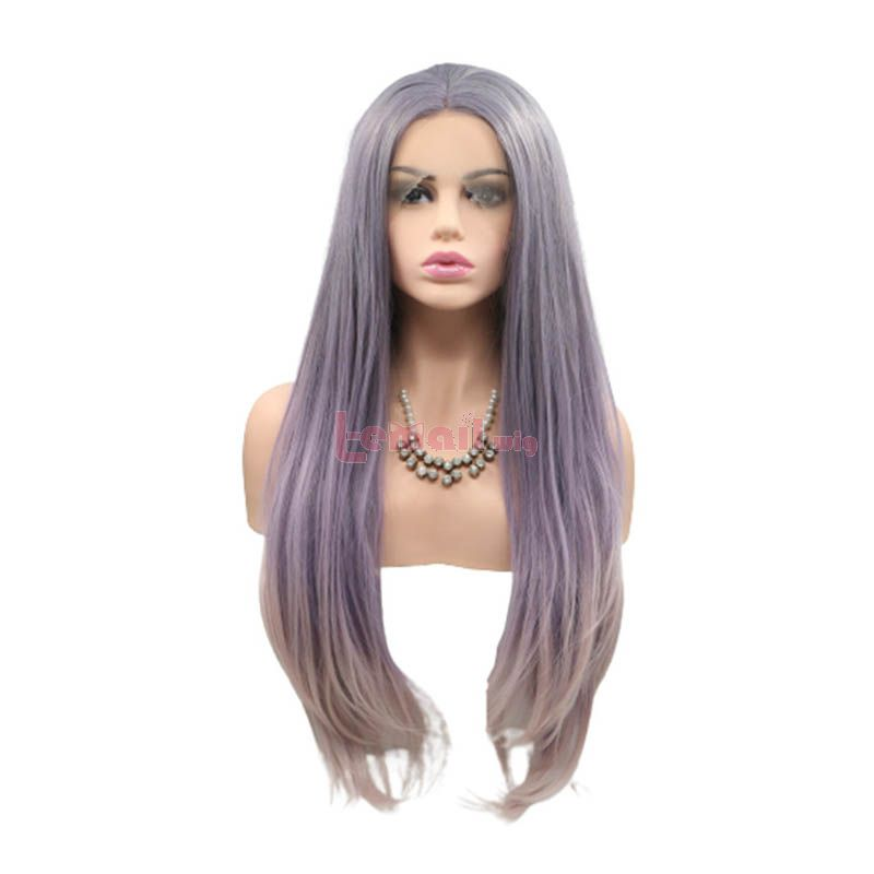 Fashion Long Straight Hair Purple Gradient Lace Front Wigs