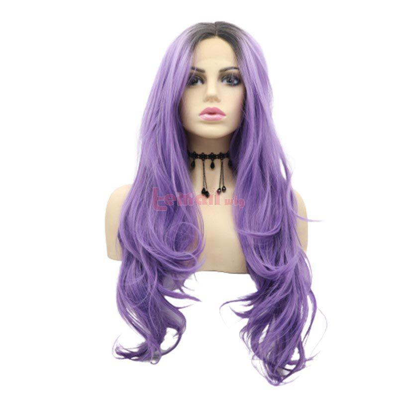 Women Long Curly Hair Purple Lace Front Wigs