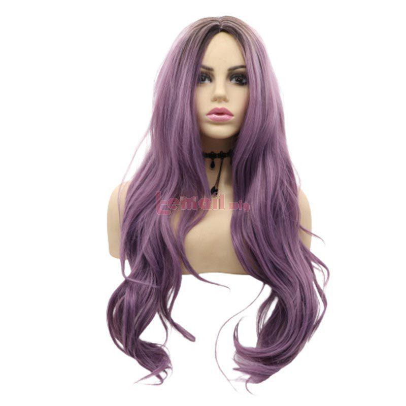 Fashion Women Long Curly Hair Purple Lace Front Wigs