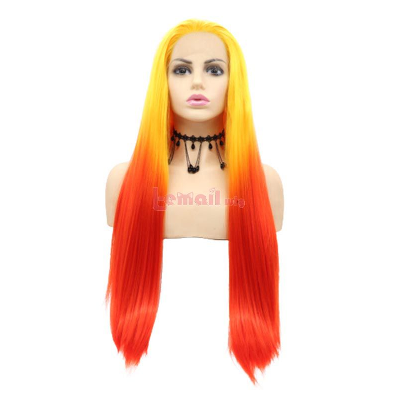 Long Straight Hair Yellow Red Lace Front Wigs Cosplay Wigs