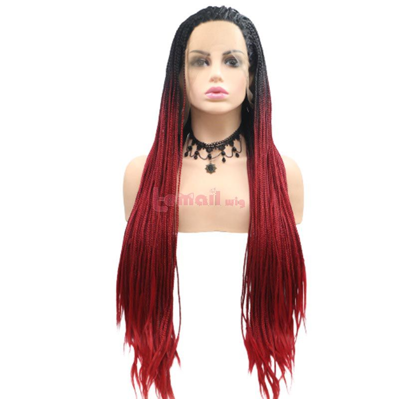 Fashion Long Straight Hair Gradient Red Lace Front Cosplay Wigs