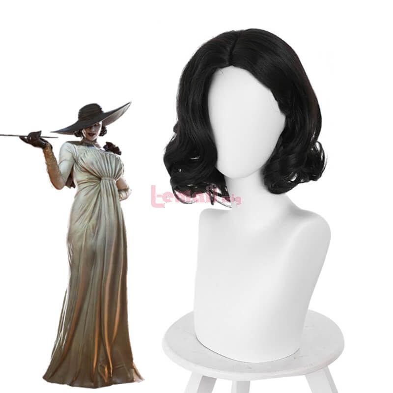 Resident Evil Village Alcina Dimitrescu Short Curly Black Cosplay Wigs