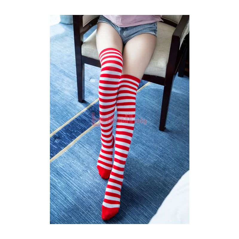 Various Colors Girls High-knee Stockings Fashion Stripe Socks