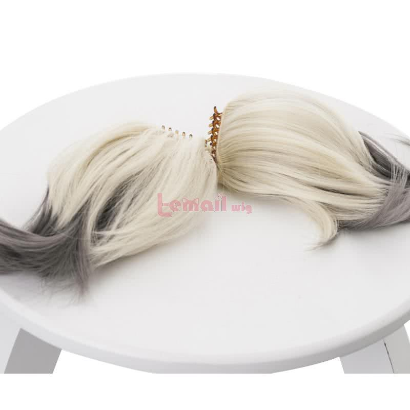 35cm Short Ponytail Ivory Gradient Grey Arknights Ifrit Cosplay Wigs
