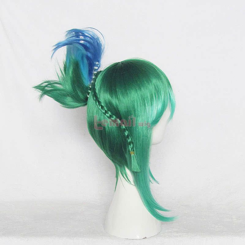 Game League Of Legends Riven Green Mixed Blue Cosplay Wig