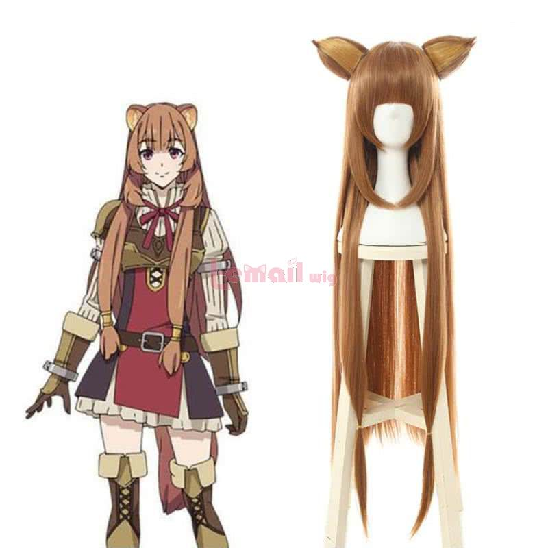The Rising of the Shield Hero Raphtalia Long Straight Brown Cosplay Wigs With Ears
