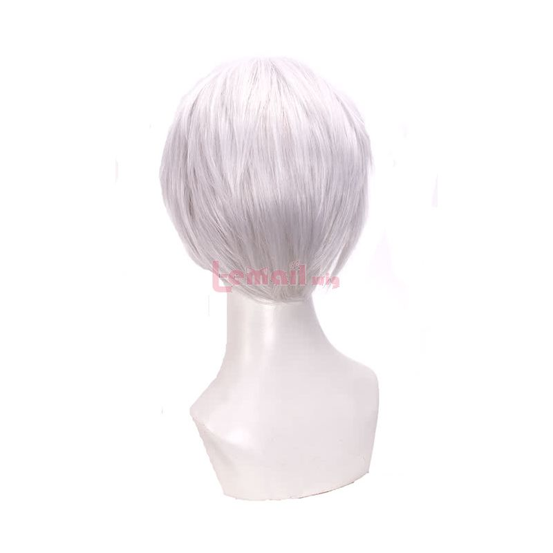 Tokyo Ghoul Kaneki Ken Short Straight White Synthetic Cosplay Wigs