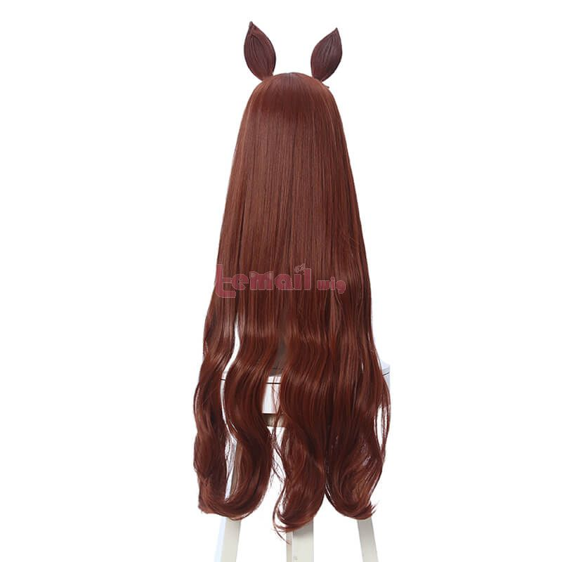 Uma Musume Pretty Derby Maru Zensky Long Curly Brown Cosplay Wigs With Ears