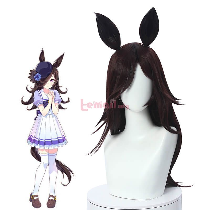Uma Musume Pretty Derby Rice Shower Cosplay Wigs with Ears Bangs