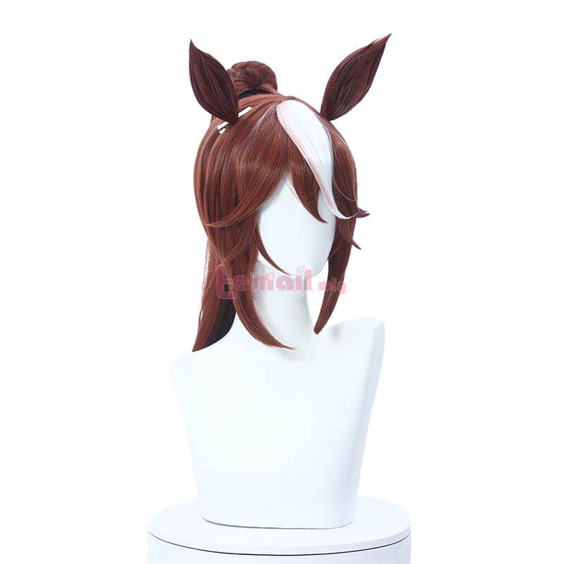 Uma Musume Pretty Derby Tokai Teio Ponytail Cosplay Wigs with Ears Bangs