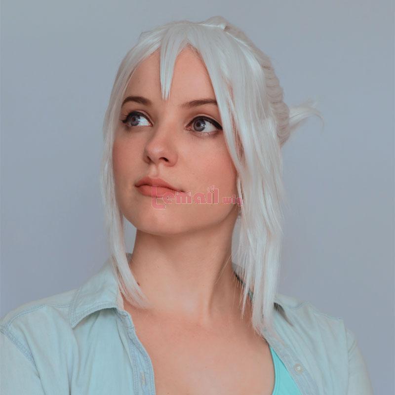 Valorant Jett Silver Grey Ponytail Cosplay Wigs